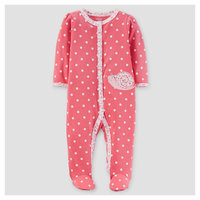 Baby Girls' Cotton Sleep N Play Dot/Snail Coral 3M - Just One You Made by Carter's, Pink