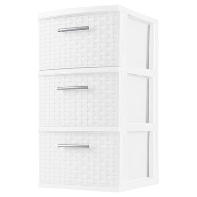 Sterilite 3-Drawer Weave Tower, White (Available in Case of 2 or Single Unit)