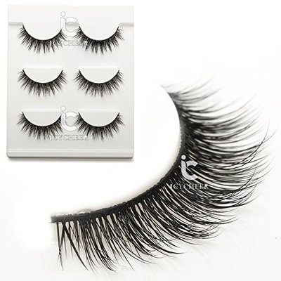 ICYCHEER Makeup 3D False Eyelashes Extension 3Pair/Set Handmade Natural Fake Eye Lashes