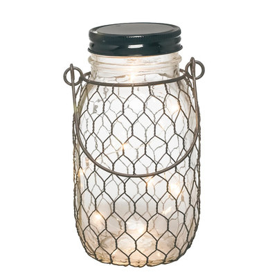 The Gerson Companies 6.9H Battery Operated Lighted Mason Jar With Black Wire