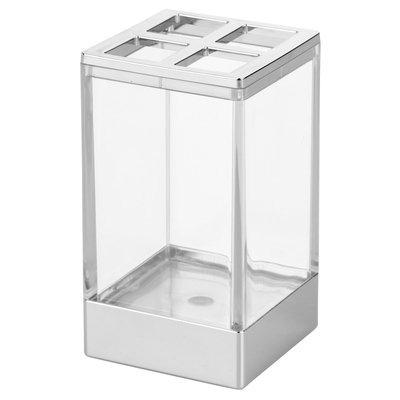 Square Toothbrush Holder Stand - (Clear/Chrome (Grey)) - InterDesign