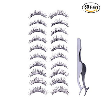 Frcolor 50 Pairs Handmade Natural Fake Eyelashes, Long Eye Lashes for Women Lady Teenager Girls with Tweezers