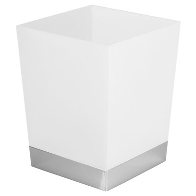 Square Bathroom Wastebasket - (Frost/Chrome (Grey)) - InterDesign