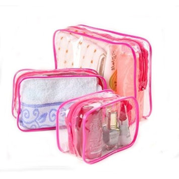 Ewandastore Waterproof Dustproof Clear PVC Travel Cosmetic Bag Makeup Bag Organizer Hand Pouch Bags Tote Bag Wash bag,Pink,Small