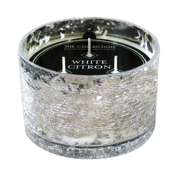 Mercury Glass Candle - White Citron - THE Collection, Silver/Clear