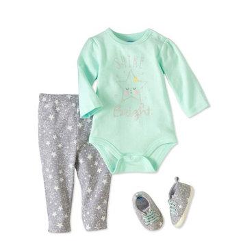 Bon Bebe Newborn Baby Girl Bodysuit, Pant & Sneaker 3pc Outfit Set