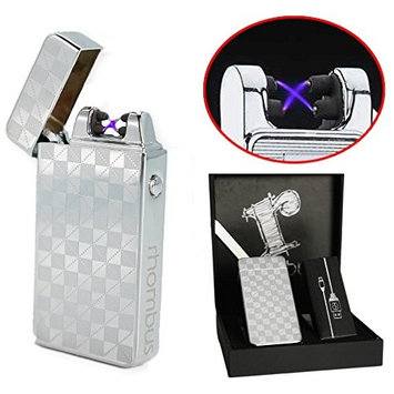 [ PRlME DAY ] Silver Plasma lighter Gift Box Double arc lighter Rechargeable electric lighter cool lighter Windproof tesla coil lighter usb lighter survival camping Cool Unique Gift idea for dad men: Sports & Outdoors