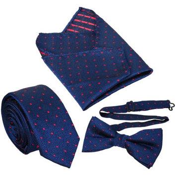 BMC Mens 3 pc Blue Skinny Tie Bowtie Pocket Square Fashion Accessories - Set 1 (Pack of 3)