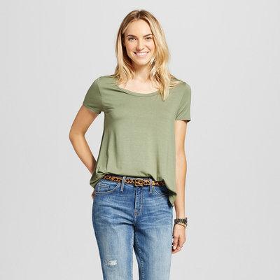 Women's Softest Scoop Tee Healthy Green L - Merona