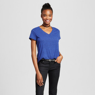 Short Sleeve Relaxed V-Neck Tee Navy (Blue) XL - Mossimo Supply Co.