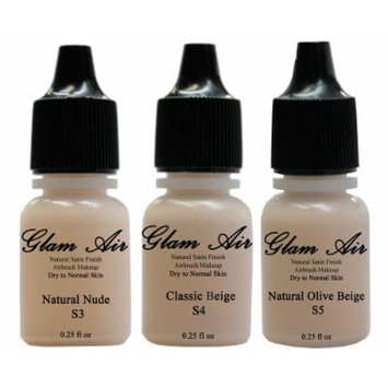 Glam Air Airbrush Water-based Foundation in Set of 3 Assorted Light Satin Shades (For Normal to Dry Light/Fair Skin)