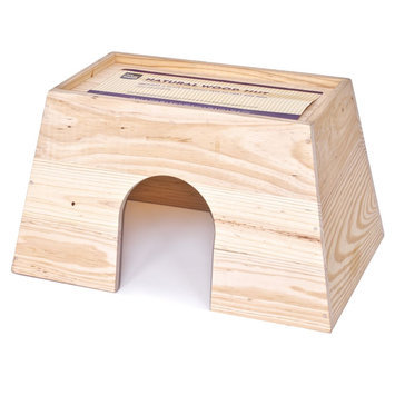 All Living Things® Natural Wood Small Animal Hut size: Large, Brown