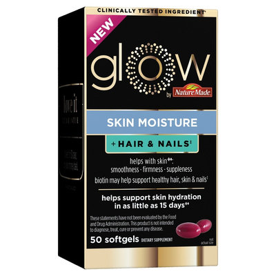 Glow by Nature Made Skin Moisture + Hair & Nails Softgels - 50ct