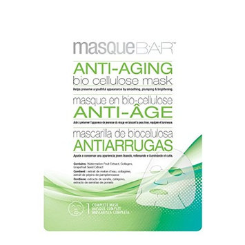 masque BAR Antiaging Bio Cellulose Sheet Mask, Green - Moisturizing, Cleansing, Exfoliating Pore Refiner with Adenosine, Derived from 100% Coconut Gel - Made in Korea