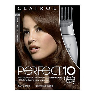 Clairol Perfect 10 By Nice 'N Easy Hair Color 6wn Light Chocolate Brown 1 Kit
