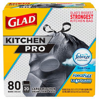 Glad ForceFlex Kitchen Pro Drawstring Trash Bags Fresh Clean 20 gal 80 ct, Black