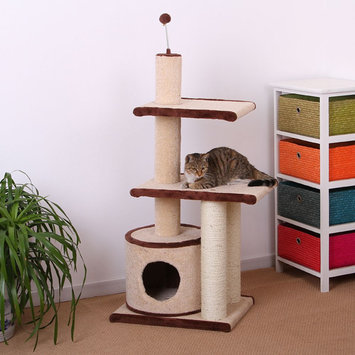PetPals Cat Tree, Cream & Brown