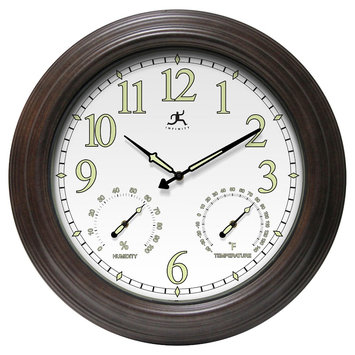 Infinity Instruments Radiant Reader Wall Clock - Brown