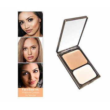 Vasanti Face Base Powder Foundation with Mineral Pigments - Oil-Free, Paraben-Free (V4 - Medium Golden / Tanned)