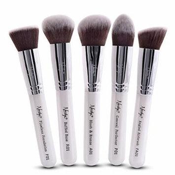Nanshy 5 Piece Kabuki Makeup Brush Set - Face Application Contouring Blending Liquids Creams Mineral Powders -Pearlescent White Kit