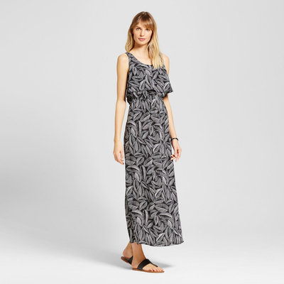 Women's Palm Print Challis Flounce Maxi Dress Black/Fresh White M - Merona