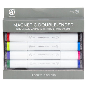 Ubrands Magnetic Double-Ended Dry Erase Markers, 4ct - Multicolor, Multi-Colored