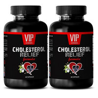 Natural cholesterol reducers - CHOLESTEROL RELIEF FORMULA - Normalize blood pressure naturally - 2 Bottles 120 Capsules
