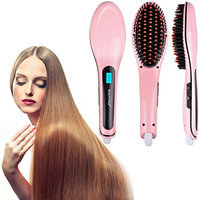 Hair Straightener Comb Ceramic Straightening Brush (Pink)