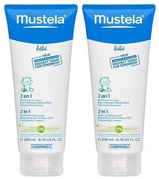 Mustela Bebe Range 2 in 1 Hair & Body Wash - 6.8 fl oz - 2 pk