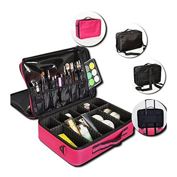 Healthcom Makeup Train Case Cosmetic Train Case Travel Makeup Case Cosmetic Box Make Up Artist Organizer Bag with Adjustable Dividers,Rose Red(Large)