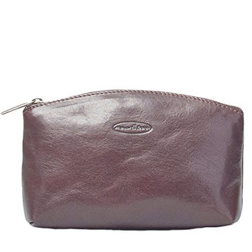 Maxwell-Scott® Deluxe Handcrafted Italian Full Grain Leather Dark Brown Cosmetic Bag (The Chia)