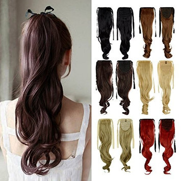Binding Tie up Synthetic Ribbon Ponytail Extensions Heat Resistant One Piece Drawstring Pony Tail Long Wavy Curly Soft Silky for Women Lady Girls 18''/18 inch (medium brown)
