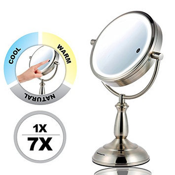 Ovente MPT75BR Multi Touch Brushed Tabletop Makeup Mirror with 3 Tone Led Light Option