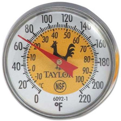 TAYLOR 6092NYL Thermometer, Yellow Coded,0 to 220F