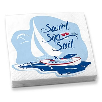 White with Swirl, Sip, Sail Boat Artwork Napkins, Set of 20