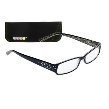 Select-A-Vision Deco Rhinestone Frame Reading Glasses, Black, 2.00