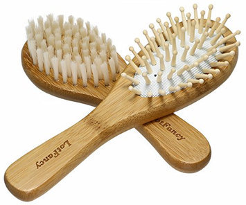 LotFancy Baby Hair Brush Set - Cradle Cap Brush with Super Soft Bristles & Bamboo Wood for Newborns and Toddlers Scalp Massaging