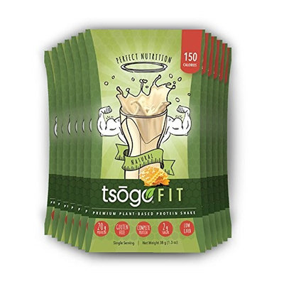 Tsogo Fit 12 Pack, Natural Flavor (Honey), Soy Free, Gluten Free & Dairy Free, High Fiber & Protein, Low Calories & Carbs, Meal Replacement Shake, Only 150cal/serv-12 Individual Servings)