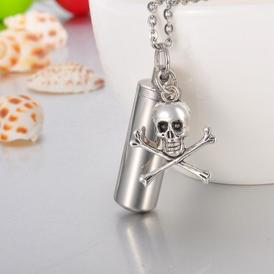 Bone Skull Cylinder Cremation Jewelry Keepsake Urn Necklace Ash Holder Key Chain