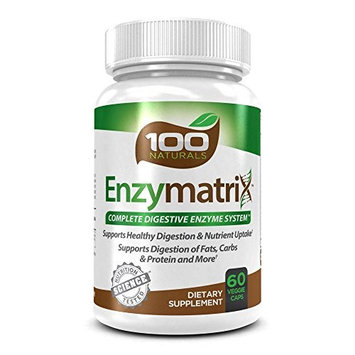 100 Naturals Enzymatrix Complete Digestive Enzyme System Dietary Supplement, 60 Veggie Capsules: Health & Personal Care