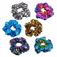 6 Pack Metalic Cloth fabirc Hair Scrunchies Elastic Hair Ties Women Hair Bobbles Girls' Ponytail Holder