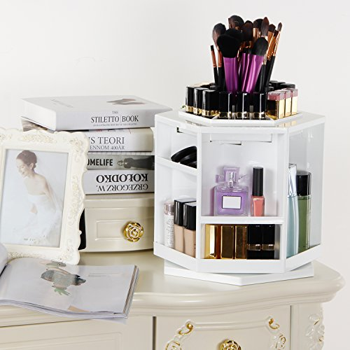 Langforth Makeup Organizer 360 Degree Rotating Spinning Lipstick Tower Cosmetics Storage Brush Holder