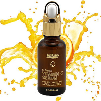 Blitzby Vitamin C Serum with Hyaluronic Acid Best Anti Aging Formula. Professional Dermatologist Recommended