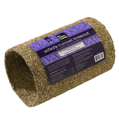 All Living Things® Alfalfa-Covered Tunnel Hideout Small Animal Furniture size: Small, Natural