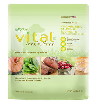 Freshpet® Vital, Grain Free Complete Meals Chicken, Beef, Salmon and Egg Adult Dog Food size: 5.5 Lb