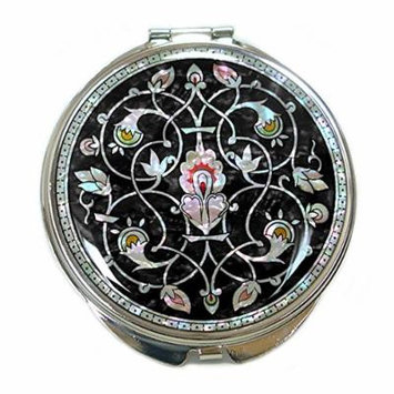 Mother of Pearl Candle Design Double Compact Cosmetic Makeup Black Round Pocket Magnification Mirror, 3.7 Ounce