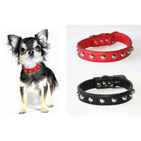 Hip Doggie Red Silver Stud Collar, Size: XXS