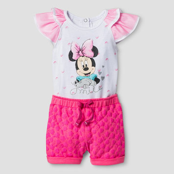 Baby Girls' Minnie Mouse Flutter Sleeve Bodysuit with Shorts - Pink 0-3M
