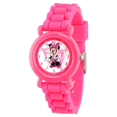 Disney Minnie Mouse Girls' Pink Plastic Time Teacher Watch, Pink Silicone Strap, WDS000136, Girl's