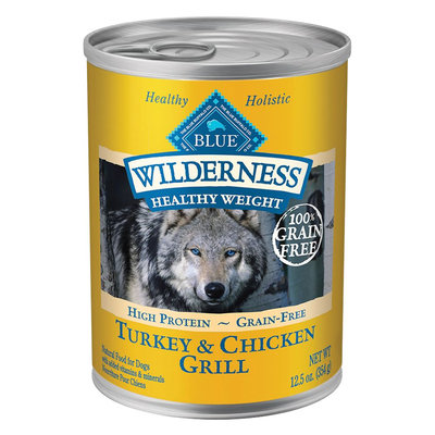 Blue Buffalo Wilderness Healthy Weight High Protein Healthy Weight Turkey & Chicken Grill Adult Wet Dog Food, 12.5 Oz (Case of 12)